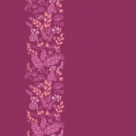 swirl: Fall garden vertical seamless pattern background border