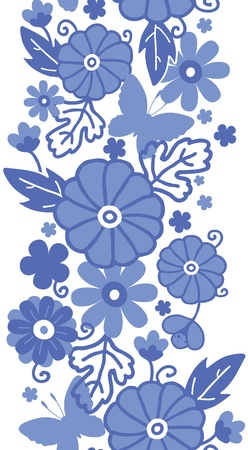 Delft blue Dutch flowers vertical seamless pattern border photo