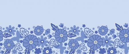 Delft blue Dutch flowers horizontal seamless pattern border Vectores