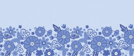 delft: Delft blue Dutch flowers horizontal seamless pattern border Illustration