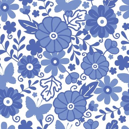 델프트 블루 네덜란드어 꽃 원활한 패턴 배경