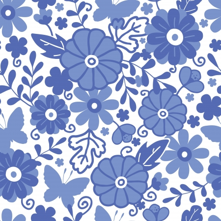 Delft blue Dutch flowers seamless pattern background Vector