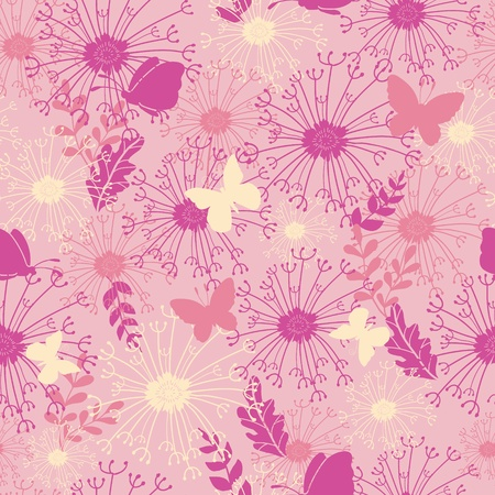 Butterflies in pink garden seamless pattern background Vector