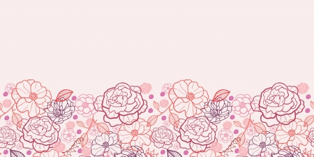 Line art flowers horizontal seamless pattern background border