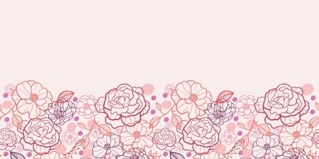Line art bloemen horizontaal naadloze patroon achtergrond grens