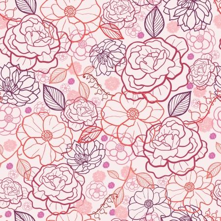 Lijntekeningen bloemen naadloze patroon achtergrond