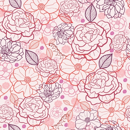 Line art flowers seamless pattern background Vector