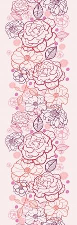 Line art flowers vertical seamless pattern background border