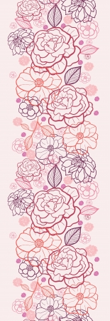 Line art flowers vertical seamless pattern background border