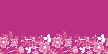 핑크 사쿠라 기모노 꽃 수평 원활한 패턴 테두리 일러스트