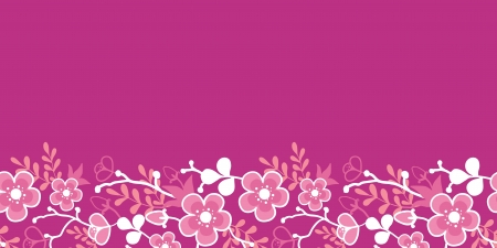 Pink Sakura Kimono Blossom Horizontal Seamless Pattern Border