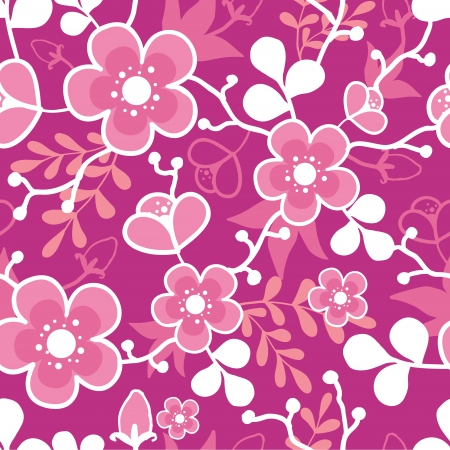 Pink Sakura Kimono Blossom Seamless Pattern Background Vector