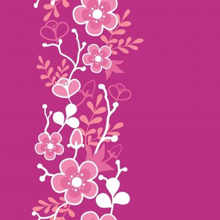 Pink Sakura Kimono Blossom Vertical Seamless Pattern Border Vector