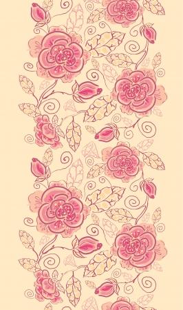 Línea rosas del arte vertical de la frontera de fondo sin fisuras patrón Foto de archivo - 16446410