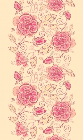 vertical garden: Line art roses vertical seamless pattern background border