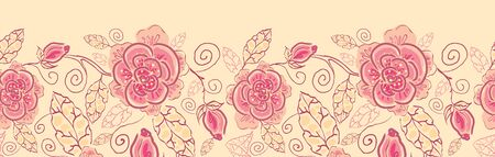 Line art roses horizontal seamless pattern background border  Vector