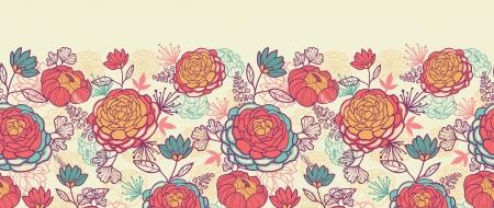 牡丹の花し、葉を水平シームレス パターン背景