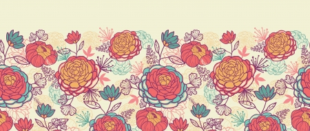 graphic illustration: Peony flowers and leaves horizontal seamless pattern background