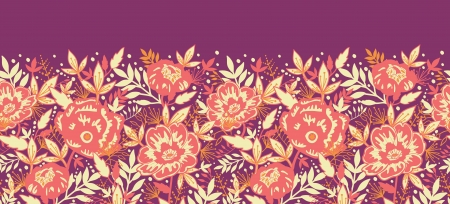 Golden flowers and leaves horizontal seamless pattern border Vector