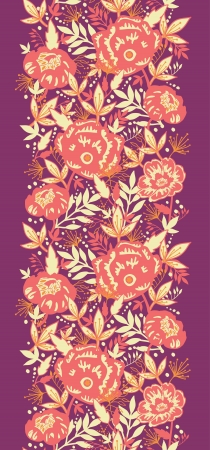 Golden flowers and leaves vertical seamless pattern border Stock Vector - 16564817