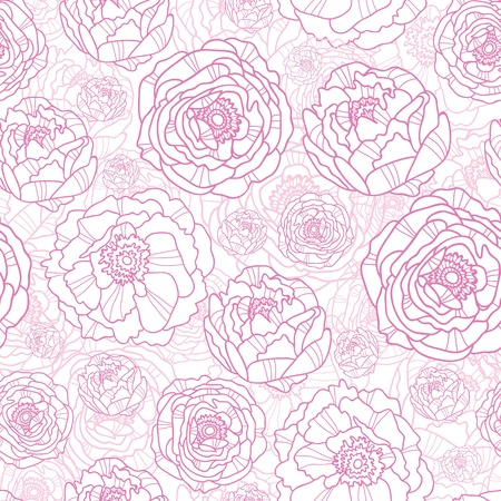 Pink line art flowers seamless pattern background Stock Vector - 16564847