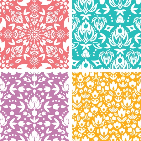 Set of four floral abstract seamless pattern background Vectores