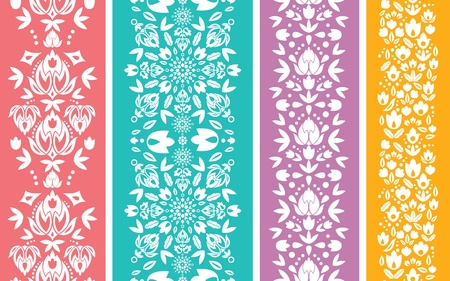 Set of four floral abstract vertical seamless pattern border Vectores
