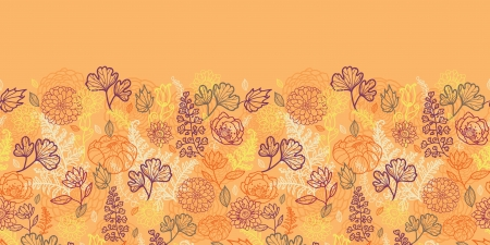 Desert flowers and leaves horizontal seamless pattern border Vector