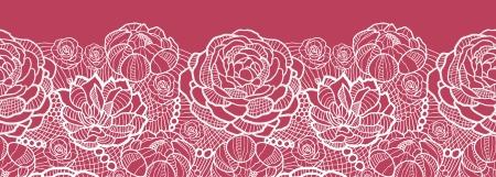 lace: Flores rojas de encaje horizontal fronterizos de fondo sin fisuras patr�n Vectores