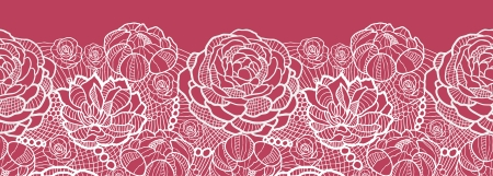 retro lace: Red lace flowers horizontal seamless pattern background border