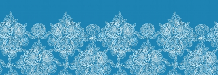 Blue lace flowers horizontal seamless pattern background border Vector