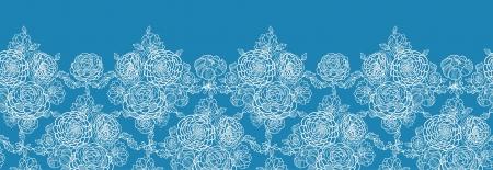 lace pattern: Blue lace flowers horizontal seamless pattern background border