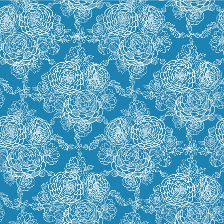 Blue lace flowers seamless pattern background Vector