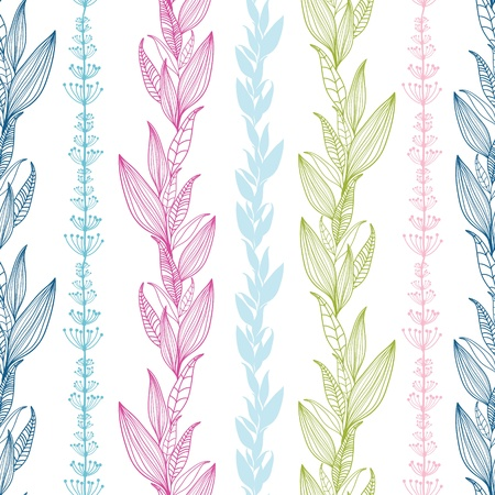 Floral stripes vertical seamless pattern background Vector