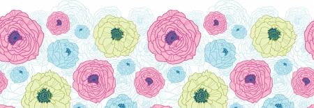 horizontal: Lovely flowers horizontal seamless pattern background border