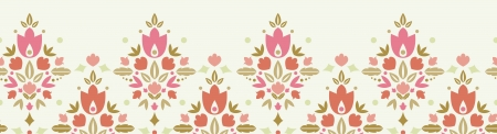 Floral damask horizontal seamless pattern background border Çizim