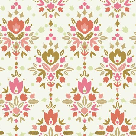 brown: Floral damask seamless pattern background Illustration