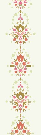 Floral damask vertical seamless pattern background border Vector