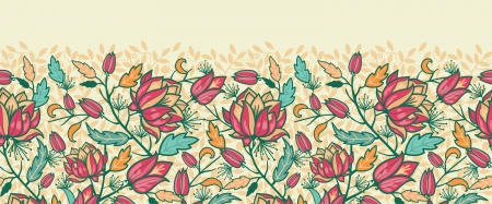Colorful flowers and leaves horizontal seamless pattern border Vector