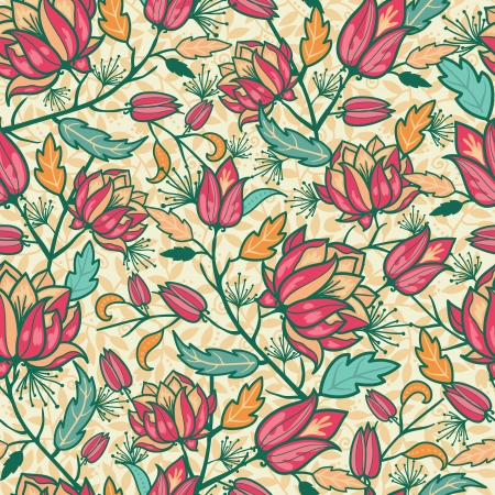 Colorful flowers and leaves seamless pattern background