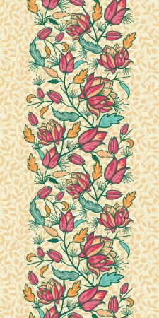 Colorful flowers and leaves vertical seamless pattern border Vector
