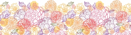 Sweet flowers horizontal seamless pattern background border Vector