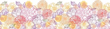 horizontal: Sweet flowers horizontal seamless pattern background border