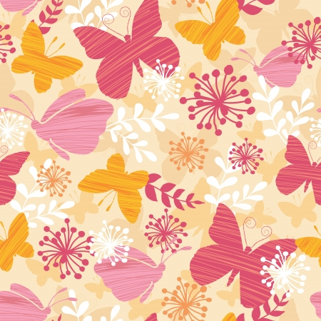 Textured Butterflies Seamless Pattern Background Vector