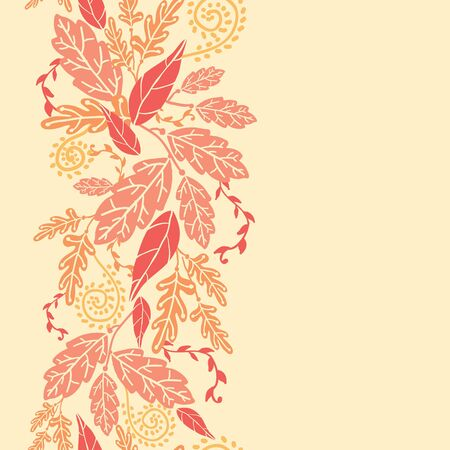 Autumn Leaves Vertical Seamless Pattern background border Vector