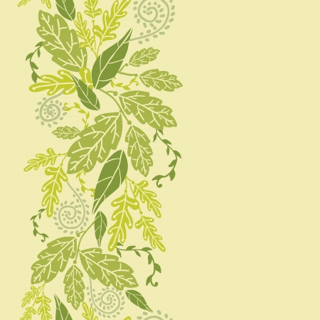 Green Leaves Vertical Seamless Pattern Background border Illustration