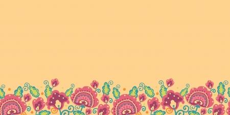 Folk Flowers Horizontal Seamless Pattern Background Border Stock Vector - 16564766