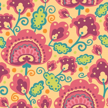Folk Flowers Seamless Pattern Background Vector