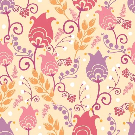 チューリップの花のシームレスなパターン背景  イラスト・ベクター素材