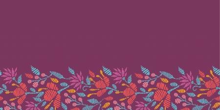 horizontal: Emboridered Flowers Horizontal Seamless Pattern border Illustration